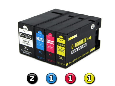5 Pack Combo Compatible Canon PGI-1600XL (2BK/1C/1M/1Y) ink cartridges