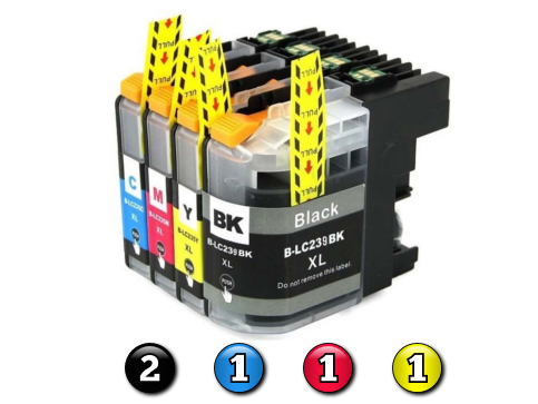 5 Pack Combo Compatible Brother LC239XL/LC235XL (2BK/1C/1M/1Y) ink cartridges
