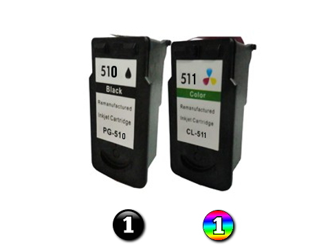 2 Pack Combo Remanufactured Canon PG510 & CL511 (1BK/1C) ink cartridges