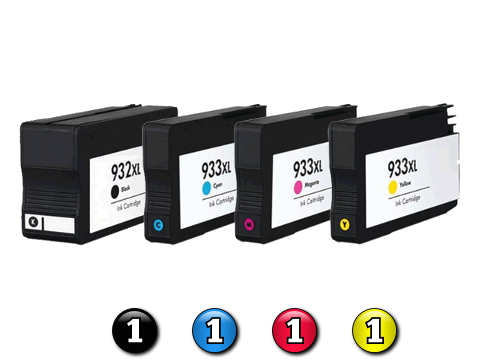 4 Pack Combo Compatible HP932XL/HP933XL (1BK/1C/1M/1Y) ink cartridges