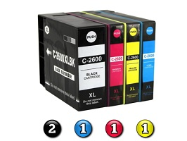 5 Pack Combo Compatible Canon PGI-2600XL (2BK/1C/1M/1Y) ink cartridges