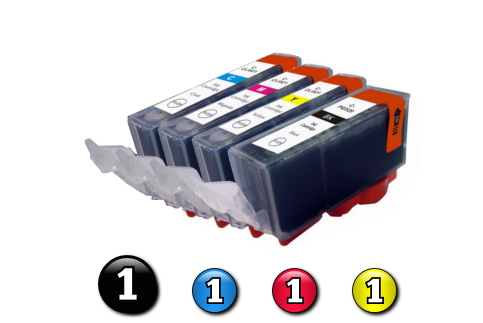 4 Pack Combo Compatible Canon ink cartridges (PGI5BK + CLI8C/M/Y)