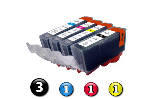 6 Pack Combo Compatible Canon ink cartridges (3 x BCI3eBK + 1 x BCI6C/M/Y)