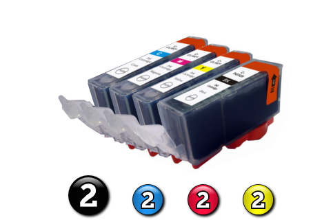 8 Pack Combo Compatible Canon ink cartridges (2 x BCI3eBK + 2 x BCI6C/M/Y)