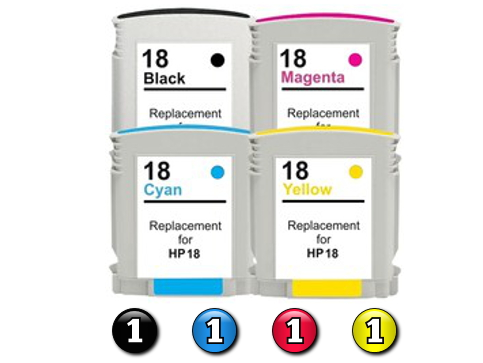4 Pack Combo Compatible HP18 (1BK(HP88)/1C/1M/1Y) ink cartridge