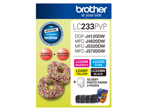 Genuine Brother LC233 Value Pack (BK/C/M/Y plus photo paper)