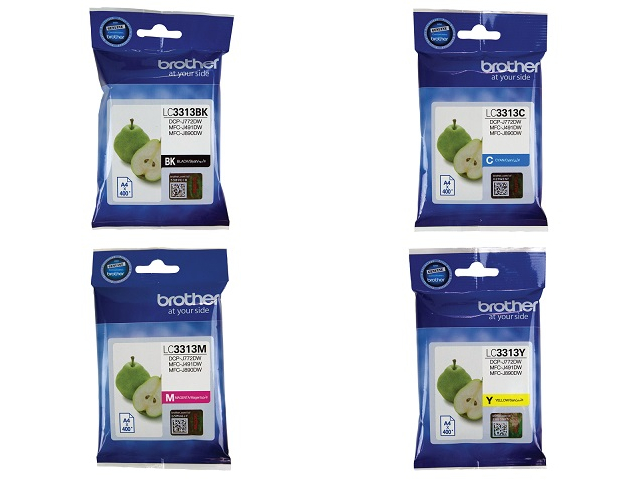 Genuine Brother LC3313 ink cartridges 4 Pack Combo (1BK/1C/1M/1Y)