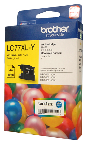 Genuine Brother LC77XL-Y (Yellow) ink cartridge