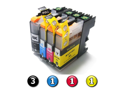 6 Pack Combo Compatible Brother LC137XL/LC135XL (3BK/1C/1M/1Y) ink cartridges