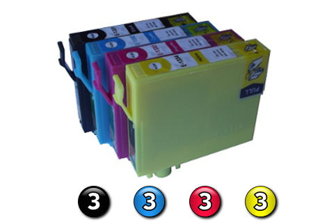 12 Pack Combo Compatible Epson 133 (3BK/3C/3M/3Y) ink cartridges