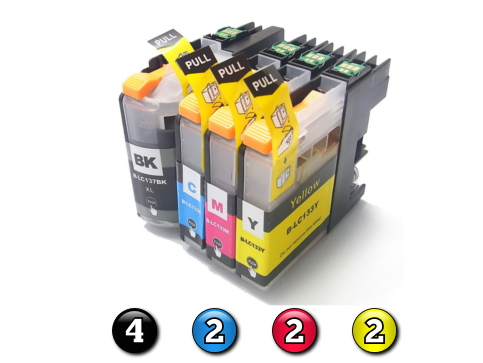 Compatible Brother LC131XL/LC133 ink cartridges 10 Pack Combo (4BK/2C/2M/2Y)