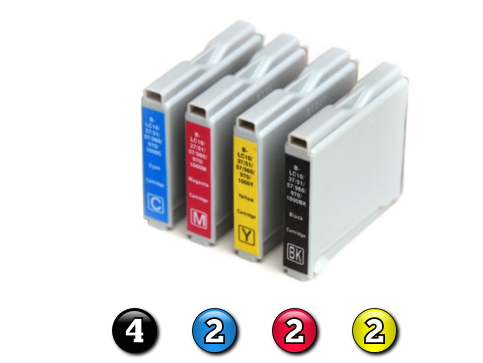 10 Pack Combo Compatible Brother LC37 (4BK/2C/2M/2Y) ink cartridges