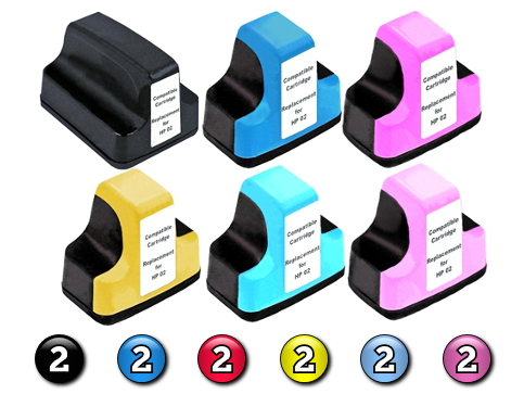 12 Pack Combo Compatible HP02XL (2BK/2C/2M/2Y/2LC/2LM) ink cartridges