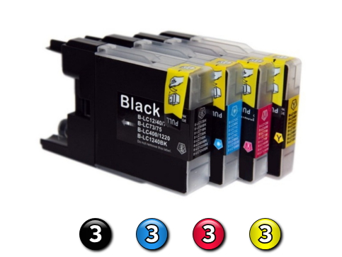 12 Pack Combo Compatible Brother LC73 (3BK/3C/3M/3Y) ink cartridges