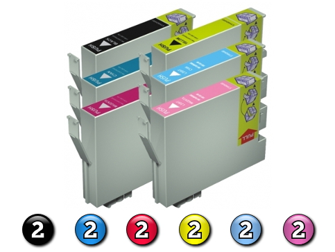 12 Pack Combo Compatible Epson T0491/2/3/4/5/6 (2BK/2C/2M/2Y/2LC/2LM) ink cartridges