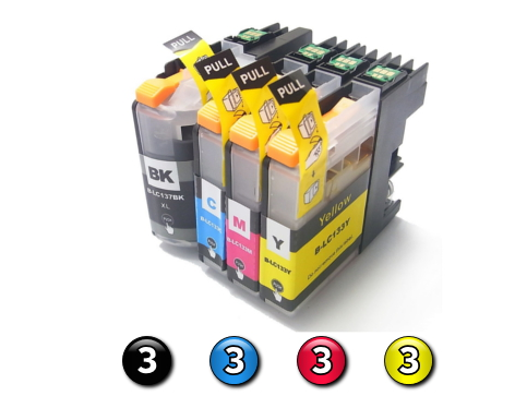 Compatible Brother LC131XL/LC133 ink cartridges 12 Pack Combo (3BK/3C/3M/3Y)