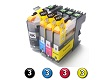 Compatible Brother LC231XL/LC233 ink cartridges 12 Pack Combo (3BK/3C/3M/3Y)