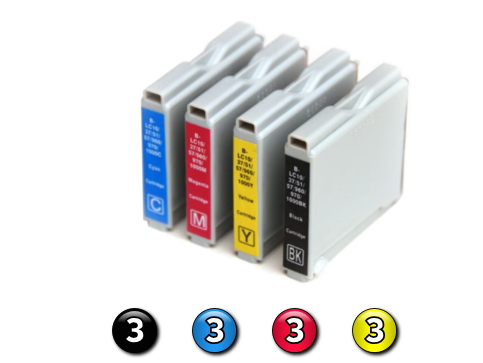 12 Pack Combo Compatible Brother LC37 (3BK/3C/3M/3Y) ink cartridges