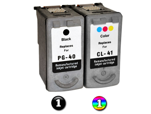 2 Pack Combo Remanufactured Canon PG40 & CL41 (1BK/1C) ink cartridges