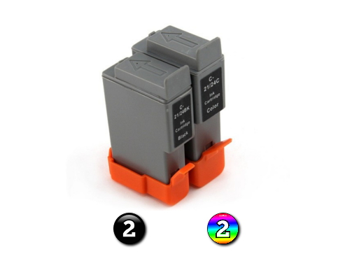 4 Pack Combo Compatible Canon BCI21/BCI24 (2BK/2C) ink cartridges