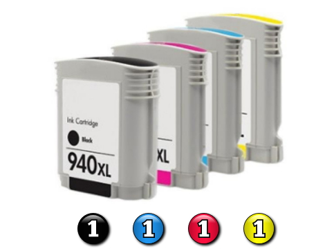 4 Pack Combo Compatible HP940XL(1BK/1C/1M/1Y) ink cartridges