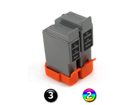 5 Pack Combo Compatible Canon BCI21/BCI24 (3BK/2C) ink cartridges