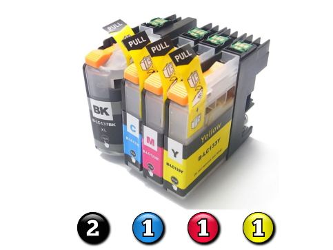 Compatible Brother LC131XL/LC133 ink cartridges 5 Pack Combo (2BK/1C/1M/1Y)