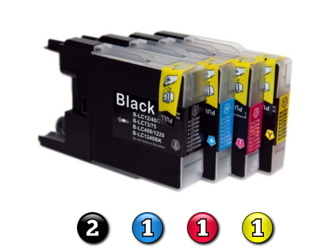 5 Pack Combo Compatible Brother LC73 (2BK/1C/1M/1Y) ink cartridges