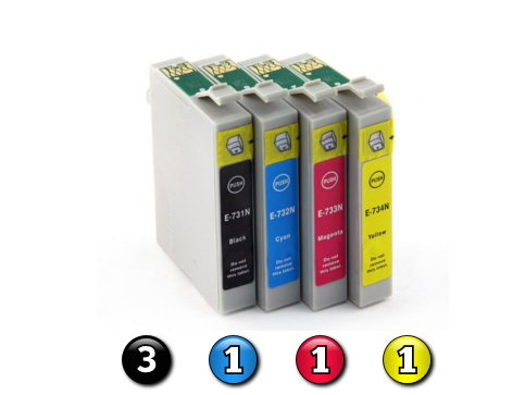 6 Pack Combo Compatible Epson 73N (3BK/1C/1M/1Y) ink cartridges