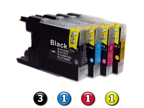 6 Pack Combo Compatible Brother LC73 (3BK/1C/1M/1Y) ink cartridges