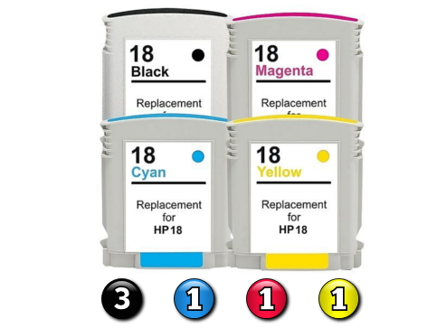 6 Pack Combo Compatible HP18 (3BK(HP88)/1C/1M/1Y) ink cartridges