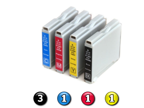 6 Pack Combo Compatible Brother LC57 (3BK/1C/1M/1Y) ink cartridges