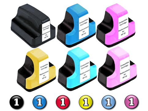 6 Pack Combo Compatible HP02 (BK/C/M/Y/LC/LM) ink cartridges