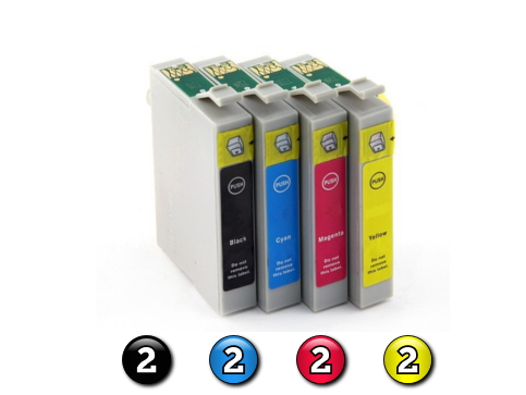 8 Pack Combo Compatible Epson T0631/2/3/4 (2BK/2C/2M/2Y) ink cartridges