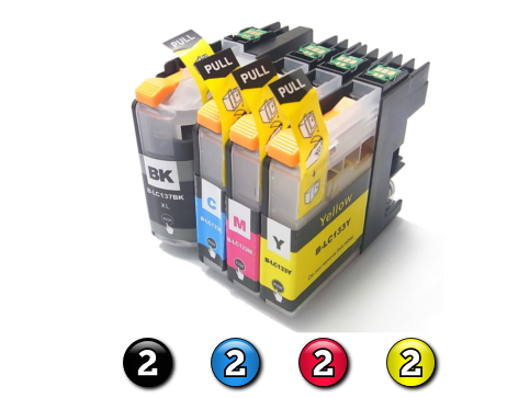 Compatible Brother LC131XL/LC133 ink cartridges 8 Pack Combo (2BK/2C/2M/2Y)