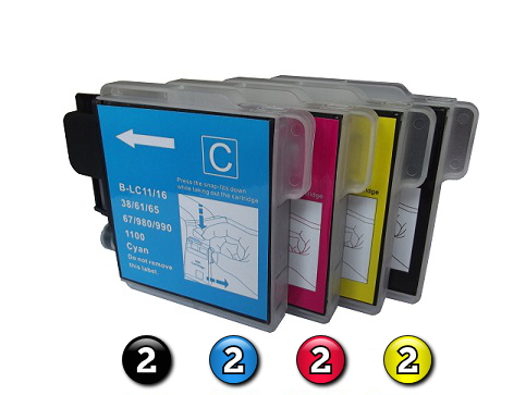 8 Pack Combo Compatible Brother LC67 (2BK/2C/2M/2Y) ink cartridges