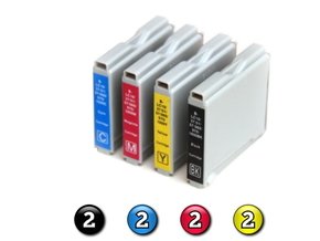 8 Pack Combo Compatible Brother LC57 (2BK/2C/2M/2Y) ink cartridges