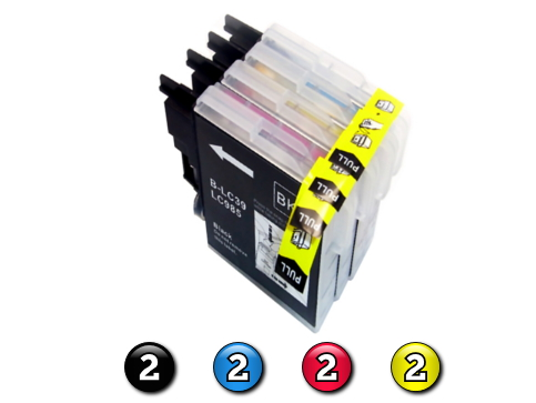 8 Pack Combo Compatible Brother LC39 (2BK/2C/2M/2Y) ink cartridges